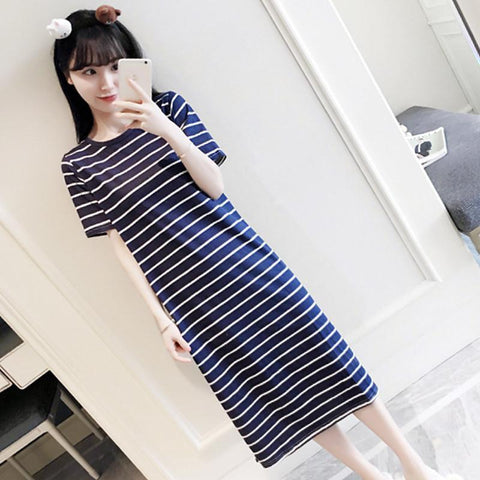 Horizontal Striped Sleeveless Casual Dress - Theone Apparel