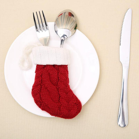 Knitted Christmas Knife and Fork Bag