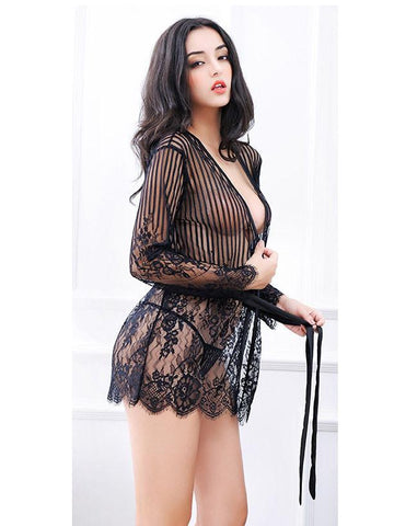 Lace & Stripes Lingerie Robe Set - Theone Apparel