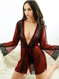 Lace Trim Lingerie Robe Set - Theone Apparel