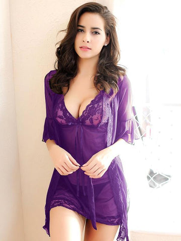 Lace and Satin Chemise Robe Set - Theone Apparel