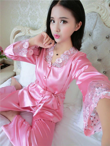 Lace and Satin Pajamas Robe Set - Theone Apparel