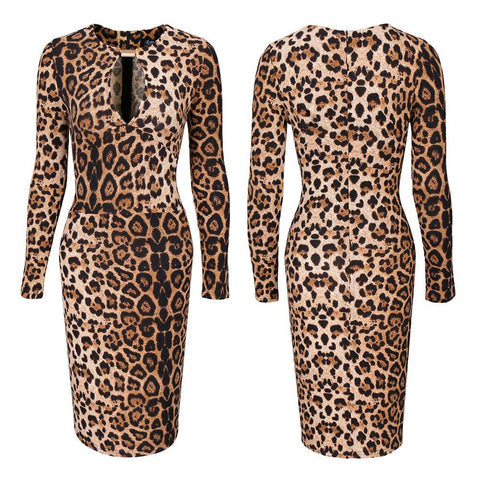 Leopard Print Keyhole Sweater Dress