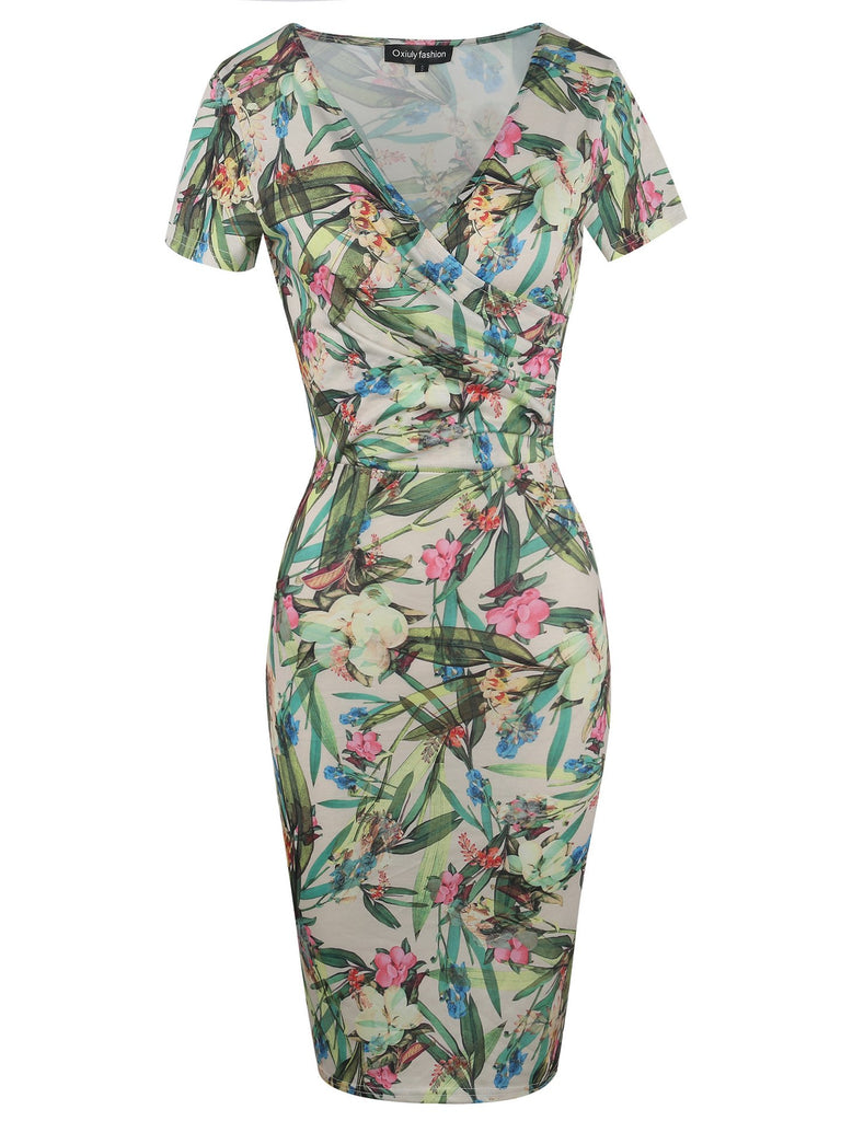All-Over Print Surplice Short-Sleeve Dress - Theone Apparel