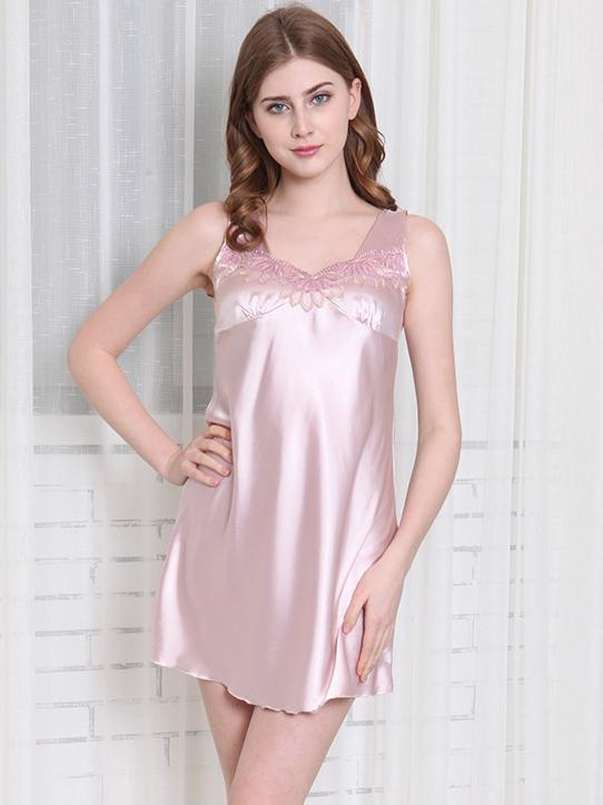 Satiny Lace Tank Nightie Dress