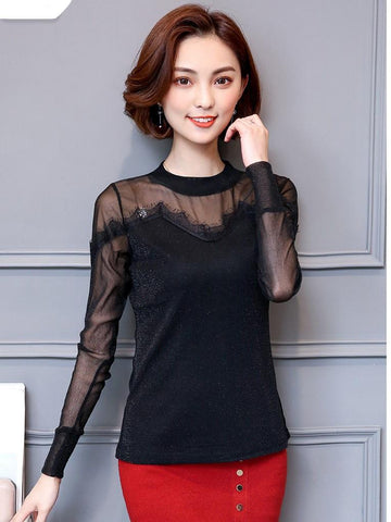 Long Sleeve Vintage Lace Illusion Top - Theone Apparel