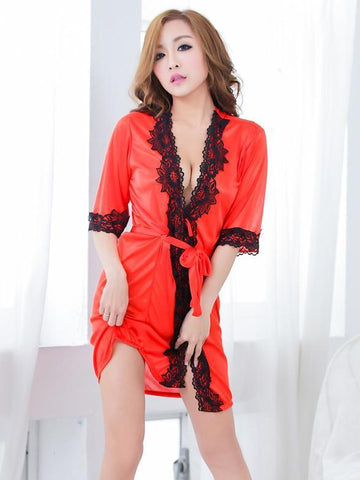 Lotus Lace Silky Lingerie Robe - Theone Apparel