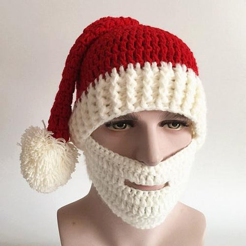 Merry Christmas Knitted Beard Face Hat