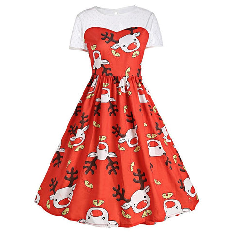 Mesh Christmas Reindeer Party Dress