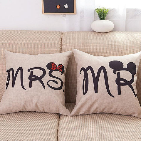 Mr and Mrs Printed Pillow Covers