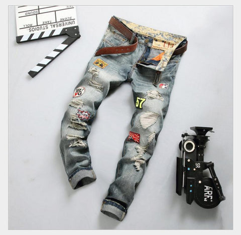 Patched Up Distressed Jeans and Belt