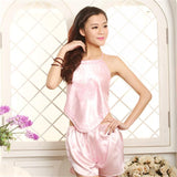 Butterfly Embroidery Satin PJs - Theone Apparel
