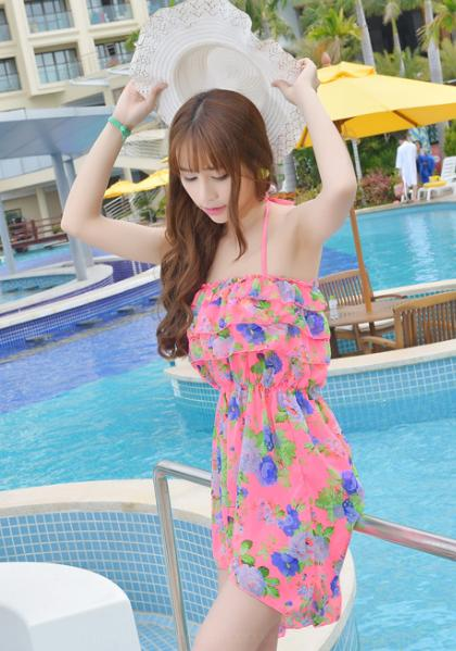 Flower patterned swimwear bikini and cover
