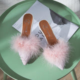 Fur Trim Pointed Toe Kitten Heels