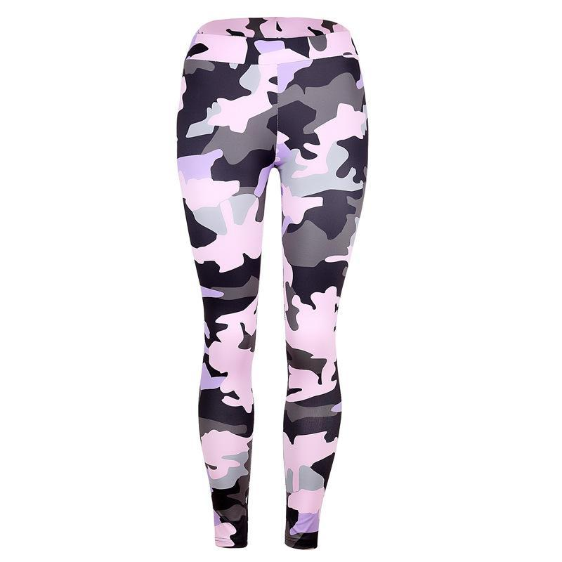 Grayscale Camo Print Gym Leggings