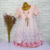 Pink Lace Rose Print Dress