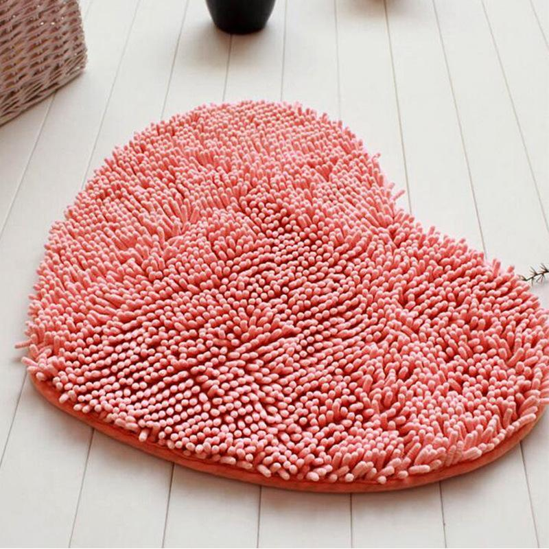 Plush Fabric Heart Shaped Bath Mat