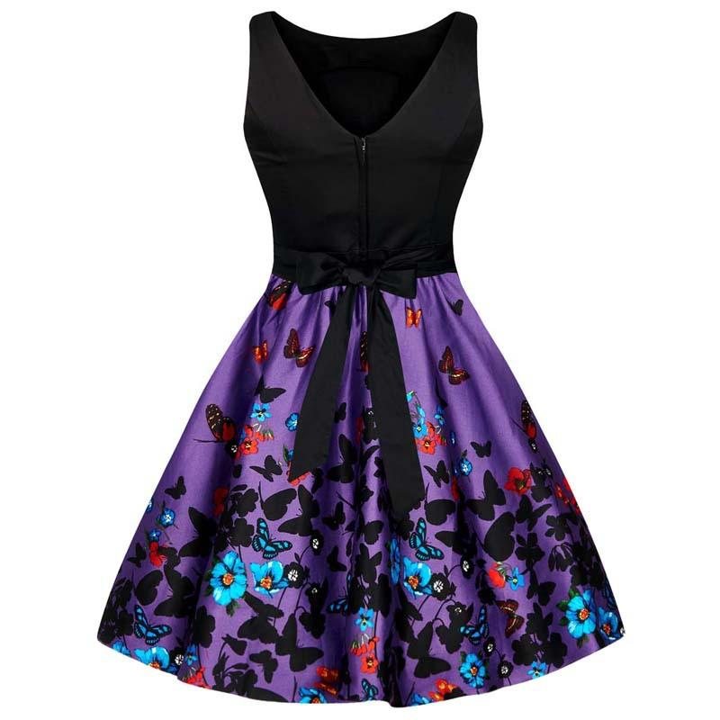 Black & Purple Floral Butterfly Dress - Theone Apparel