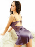 Purple Illusion Lace Silky Babydoll Chemise - Theone Apparel