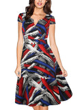 Mod Abstract Patterned Surplice Dress