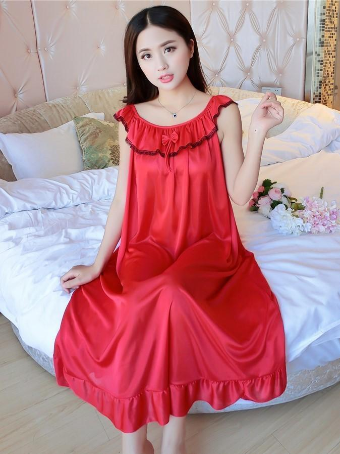 Ruffled Sleeveless Nightie Dress