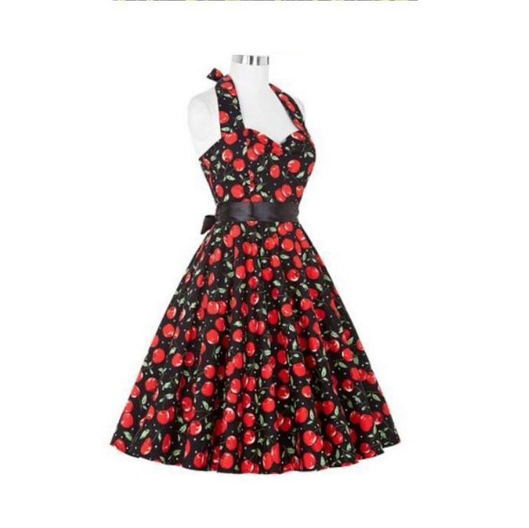 Yummy Print Retro Halter Dress