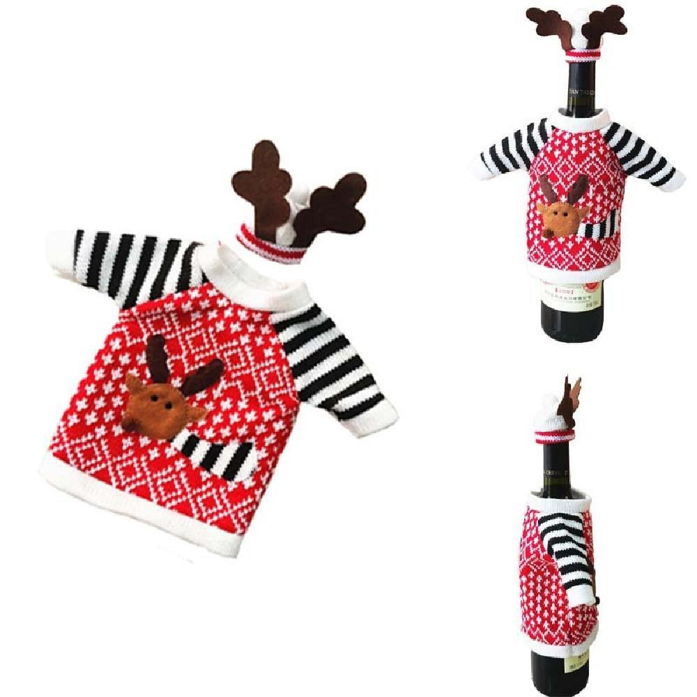 Reindeer Wine And Champagne Bottle Covers