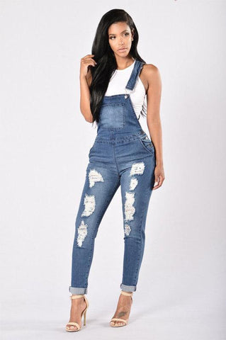 Ripped Ankle Cuff Jean Overalls - Theone Apparel