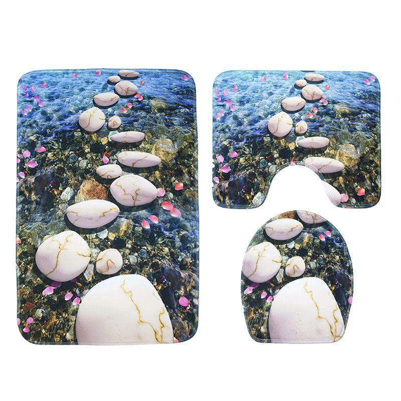 River Stone Nature Inspired Bath Mat Set