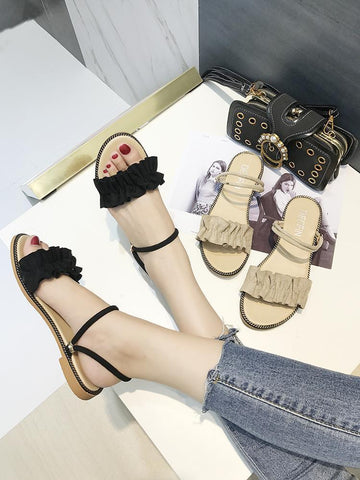 Ruffled Chain Trim Slip On Sandals