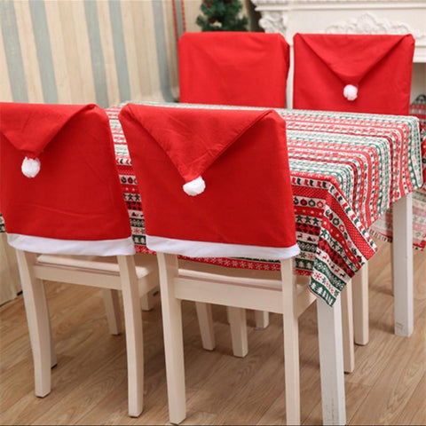 Santa Christmas Hat Chair Covers