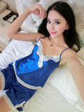 Sapphire Satin and Lace Cami Set - Theone Apparel