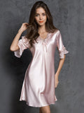 Satiny Ruffles Nightgown - Theone Apparel
