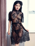 Scalloped Lace Lingerie Bib Dress - Theone Apparel