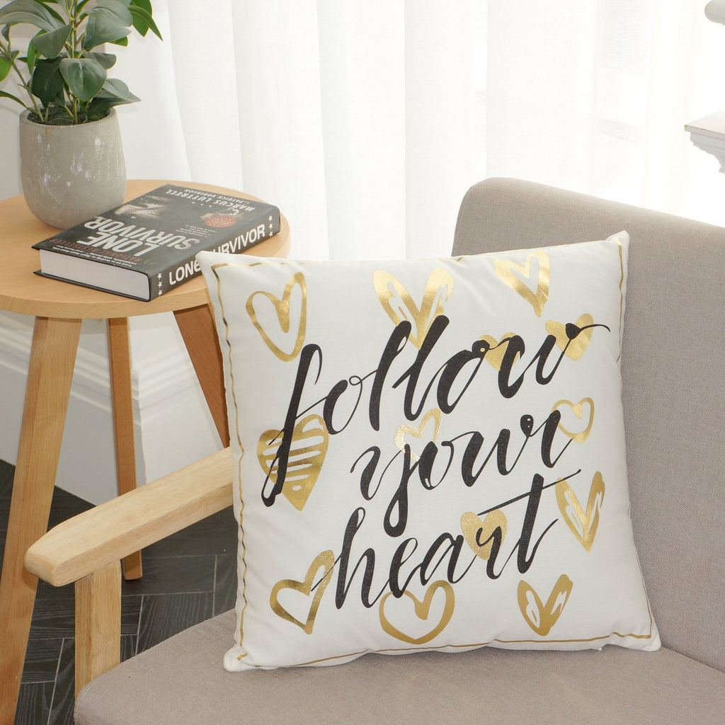 Scripted Gold Foil Pillow Covers