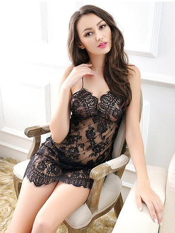 d786f1775e9 Sheer Lace Babydoll Chemise with G-String – THEONE APPAREL