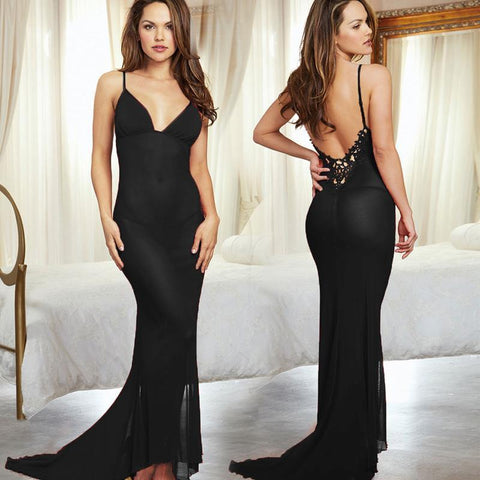 Sheer Lingerie Gown with Train - Theone Apparel