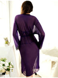 Sheer Purple Robe Set with Bra & G-String - Theone Apparel