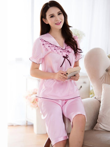 Short Sleeve Satiny Shorts PJ Set - Theone Apparel