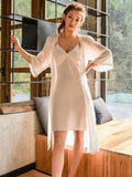 Silky Chemise with Lingerie Robe - Theone Apparel