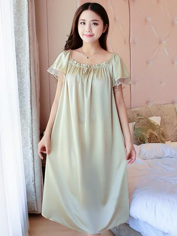 Silky Mesh Ruffle Nightgown - Theone Apparel
