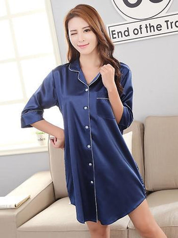 f9ebe920d2 Silky Sleep Shirt with Piped Trim - Theone Apparel