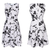 Sleeveless Grayscale Floral Print Dress