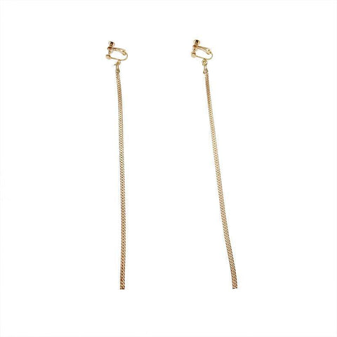 Slinky Straight Chain Tassel Earrings