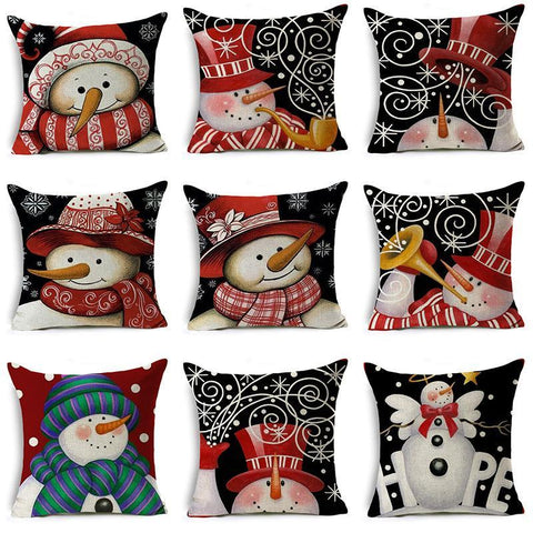 Smiling Snowman Holiday Pillow Covers