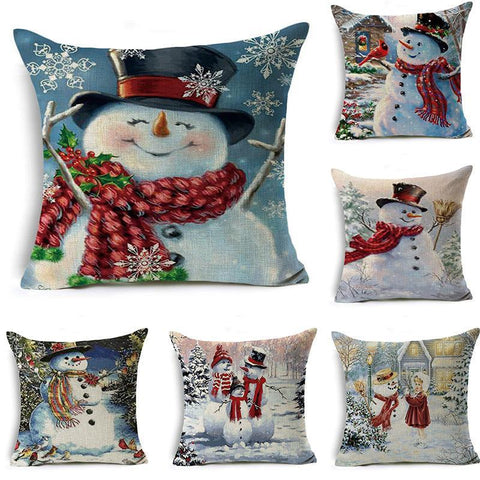 Snow Scene Snowman Pillow Covers