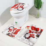 Snowman and Santa Christmas Bath Mat Set