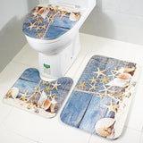 Starfish and Seashells Bath Mat Set
