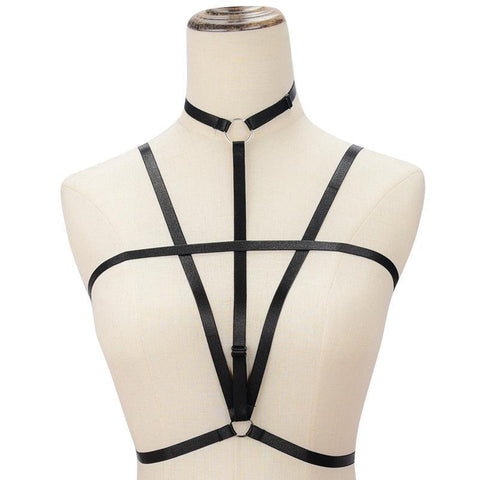 Strappy Open Bust Elastic Cage Bra