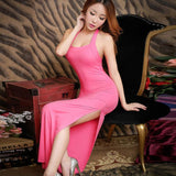 Stretchy Side Slit Lingerie Gown